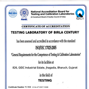 NABL Accreditation for our Testing Laboratory of Birla Century