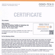 Oeko-Tex Standard 100 - Class II For Bed Linens / Made Ups